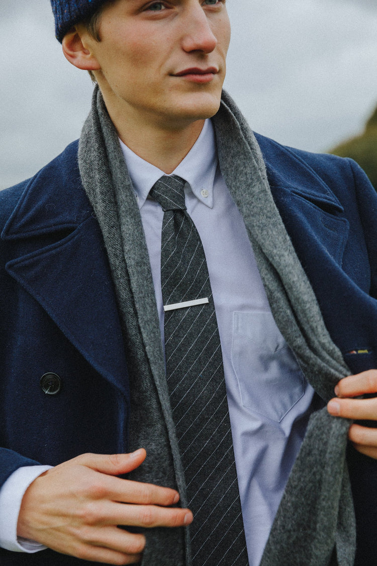 An ivy Slips Grey Pinstripe Wool Tie
