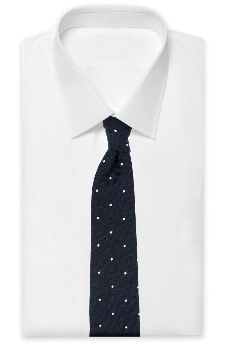 AN IVY Slips Navy Dot Italy Tie