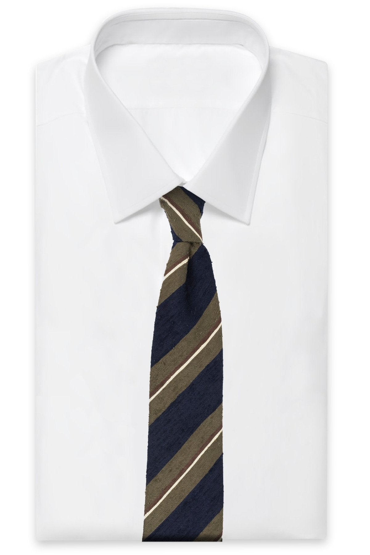 AN IVY Slips Navy Olive Green Shantung Tie