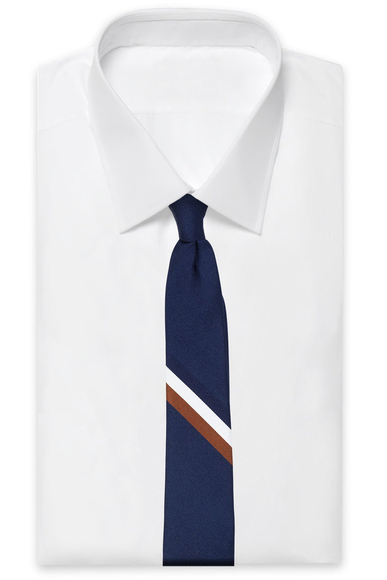 An ivy Slips Navy Signature Flag Silk Tie