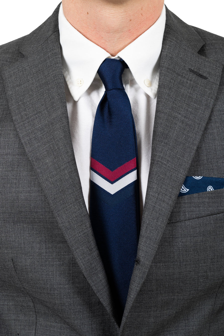 An ivy Slips Navy Signature V Flag Tie