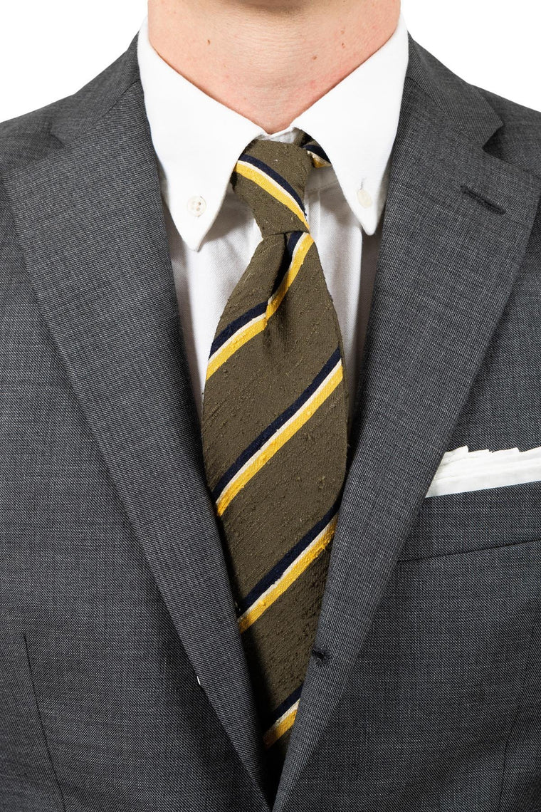 AN IVY Slips Olive Green Yellow Striped Shantung Tie