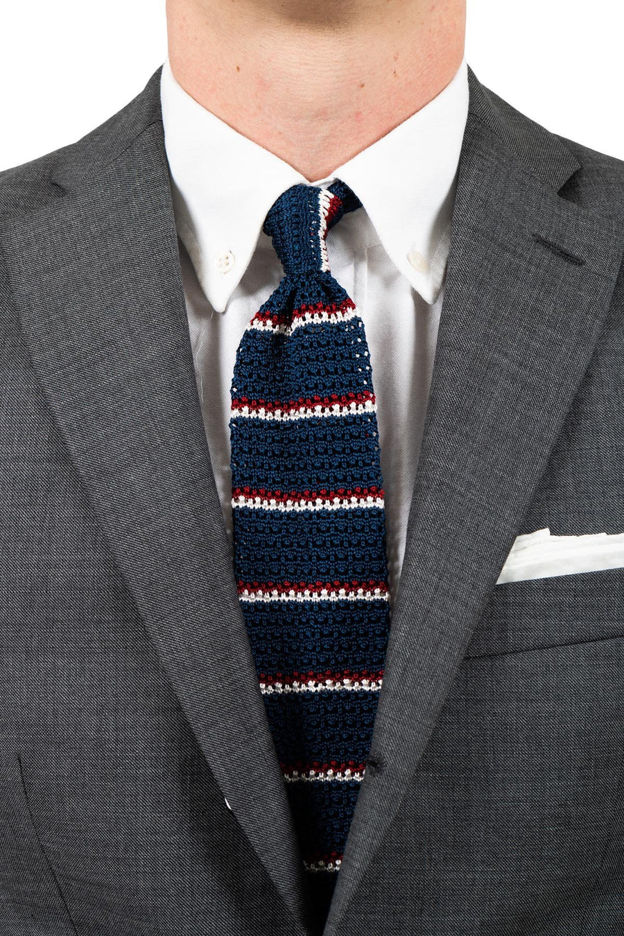AN IVY Slips Tricolore Striped Silk Knit Tie