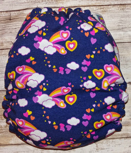 Navy Pink Hearts Clouds OS Pocket