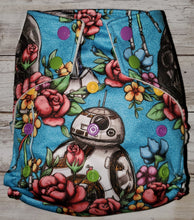 Load image into Gallery viewer, Blue Floral Wars OS Pocket Diaper