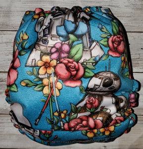 Blue Floral Wars OS Pocket Diaper