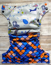 Load image into Gallery viewer, Boyish Blue Orange Mama Baby Mermaid Cover