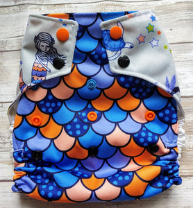 Boyish Blue Orange Mama Baby Mermaid Cover