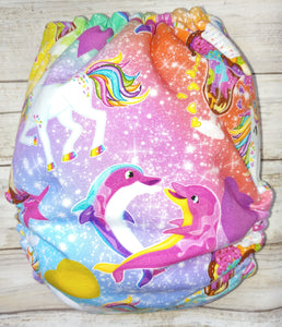 Bright Lisa Purple Yellow Dolphin OS Pocket Diaper