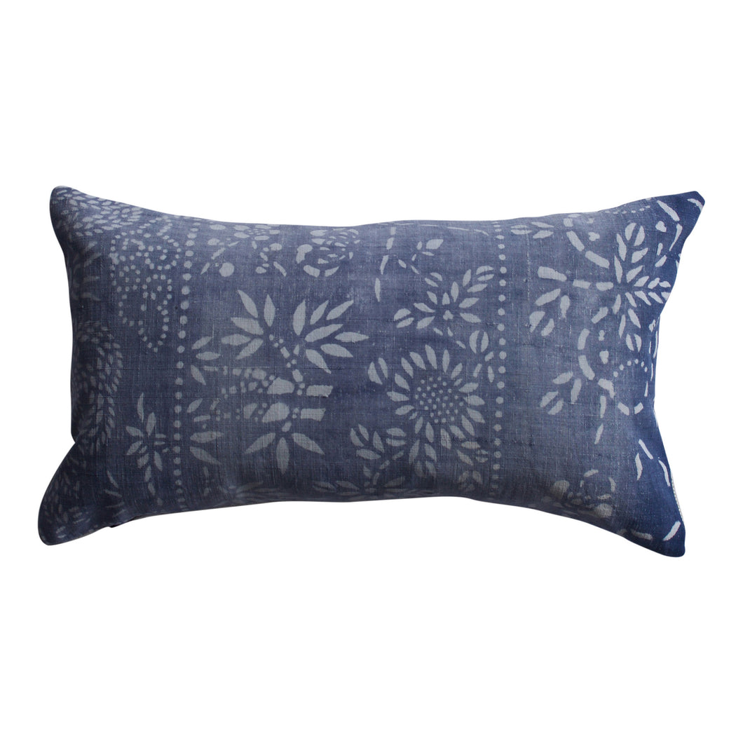 Vintage Indigo Ombre Plum Pillow, 10 X 18 in