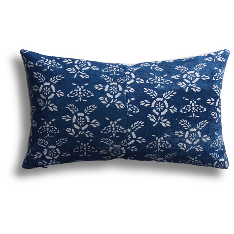Vintage Indigo Poppy Pillow, 10 x 17 in