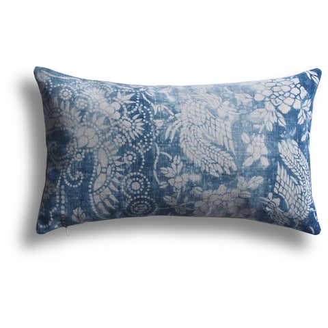 Vintage Indigo Butterfly Pillow, 10 x 17 in