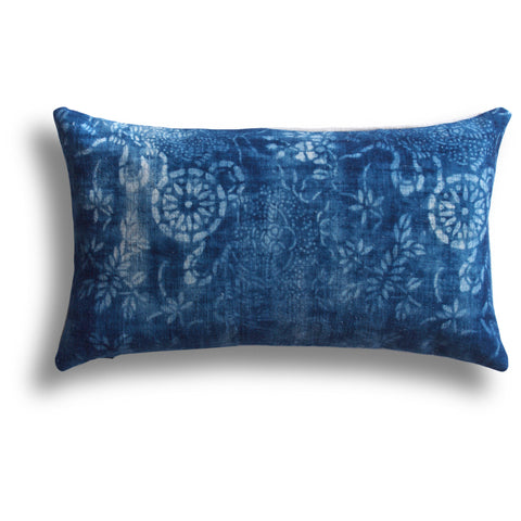 Vintage Indigo Fortune Pillow, 10 x 17 in