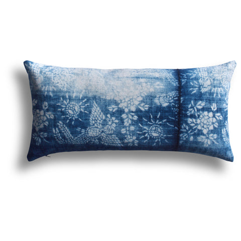 Vintage Indigo Pear Blossom Pillow, 11 x 22 in