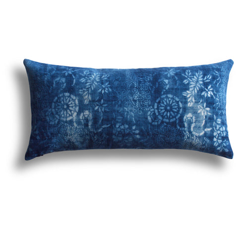 Vintage Indigo Ming Pillow, 11 x 22 in