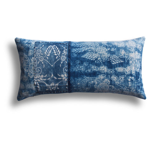 Vintage Indigo Sui Pillow, 11 x 22 in