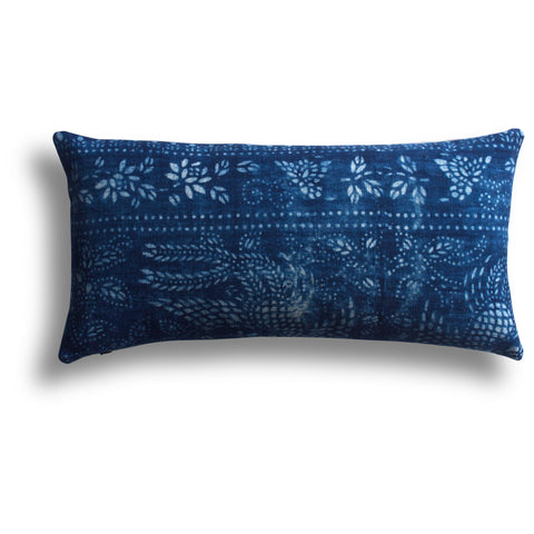 Vintage Indigo Song Pillow, 11 x 22 in