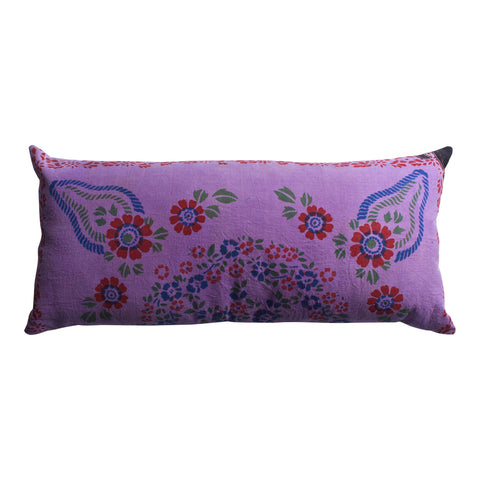 Vintage Oolong Appliquéd Pillow, 18 x 36 in