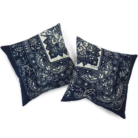 Vintage Indigo Wrapping Cloth Pillow, 20 x 20 in