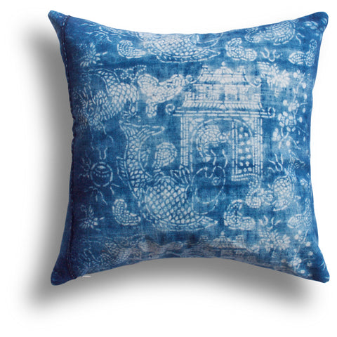 Vintage Indigo Temple Pillow, 18 x18 in