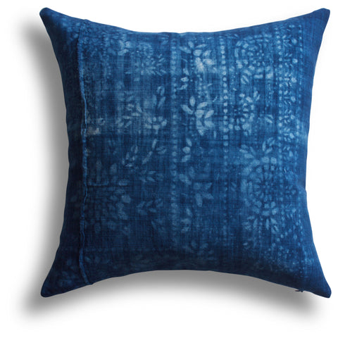 Vintage Indigo Bamboo Pillow, 18 x 18 in
