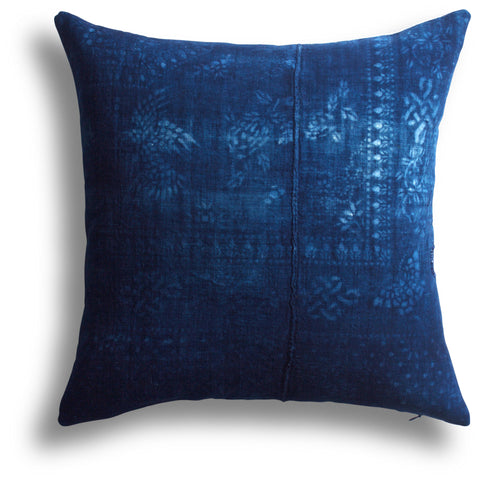 Vintage Indigo Pagoda Pillow, 18 x 18  in