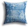 Vintage Indigo Lotus Pillow, 18 x 18 in