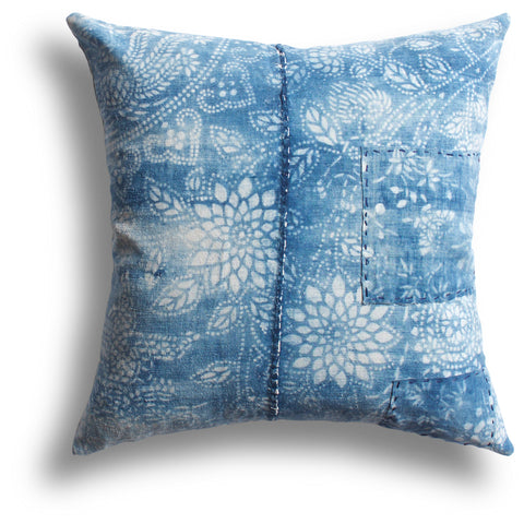 Vintage Indigo Dahlia Pillow, 18 x 18 in