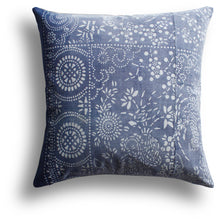 Load image into Gallery viewer, Vintage Indigo Plum Pillow, 22 x 22 in