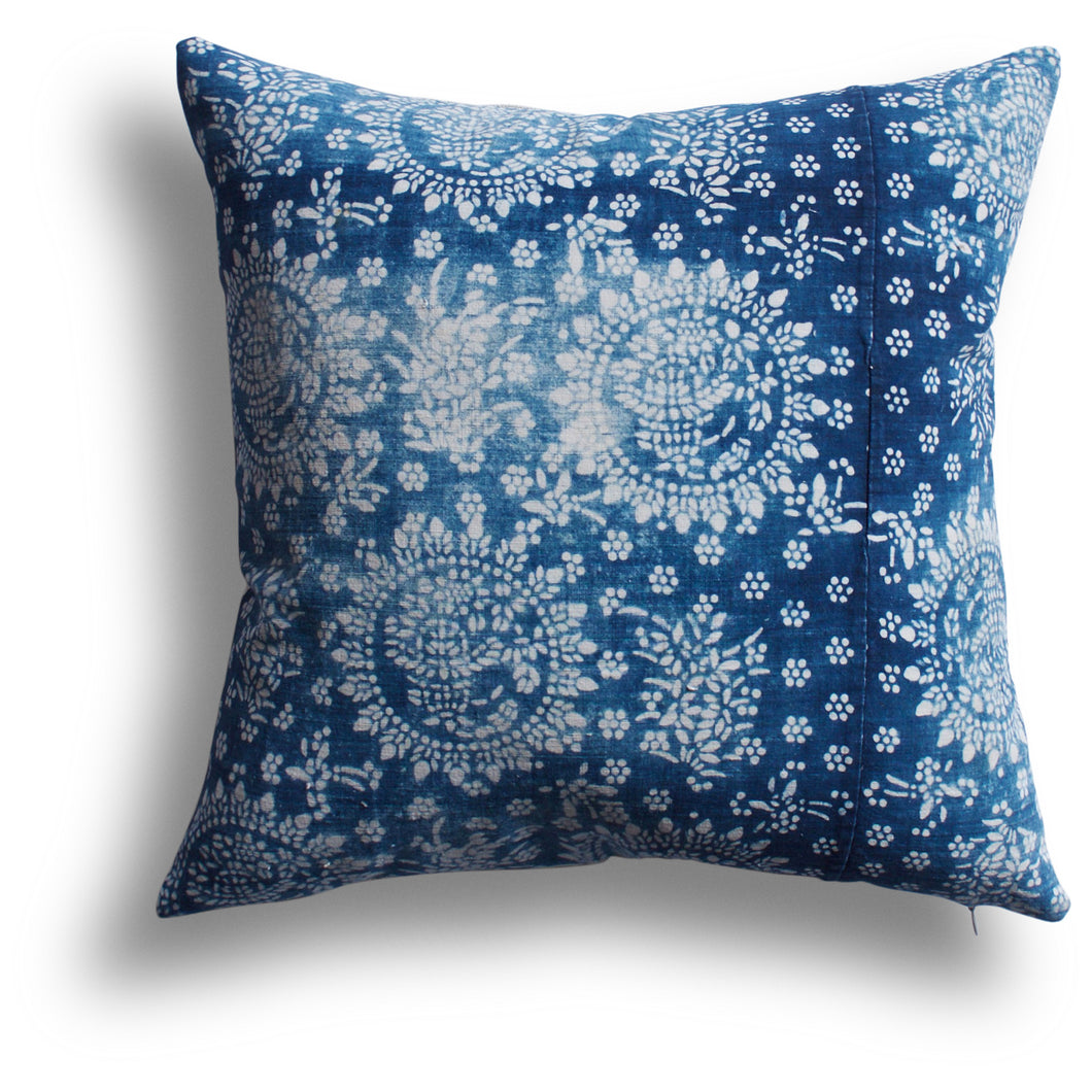 Vintage Indigo Zhang Pillow, 18 x 18 in