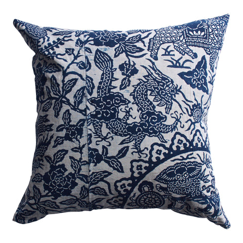 Vintage Indigo Dragon Pillow, 20 x 20 in