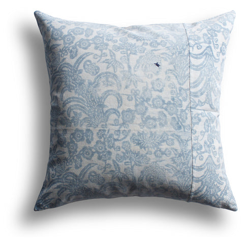 Vintage Indigo Pear Blossom Pillow, 22 x 22 in