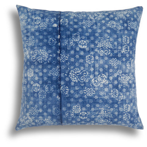 Vintage Indigo Butterfly Pillow, 22 x 22 in