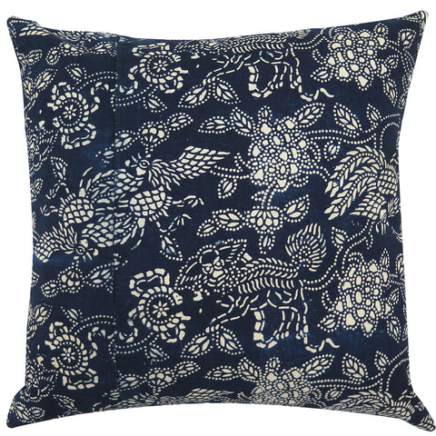 Vintage Indigo Phoenix Pillow, 22 x 22 in