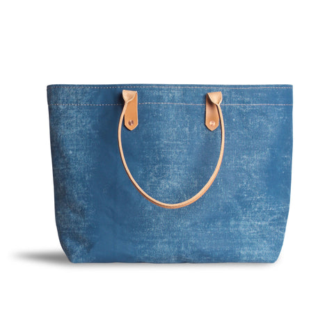 Large Distressed Mercantile Tote in Canton Blue
