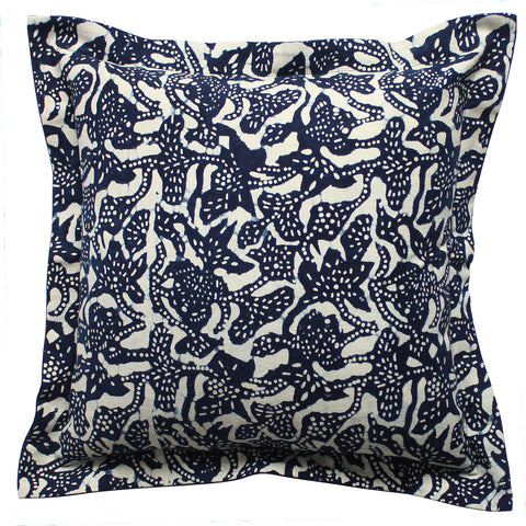 Vintage Indigo Dotty Flange Pillow, 20 x 20 in