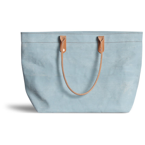 Large Distressed Mercantile Tote in Ming Blue