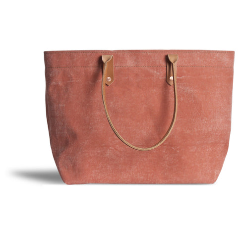 Large Distressed Mercantile Tote in Peony Pink