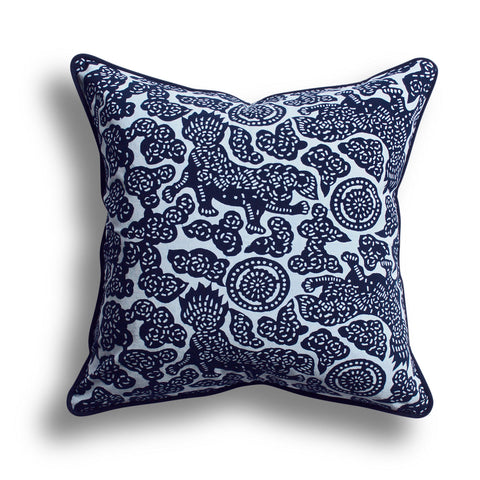 Indigo Foo Dog Pillow, 18 x 18 in