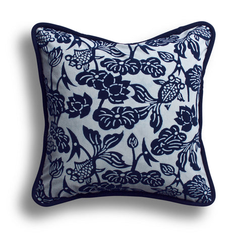 Indigo Thick Piped Fish Bowl Pillow, 18 x 18 in