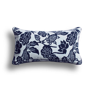 Indigo Fish Bowl Pillow, 10 x 17 in