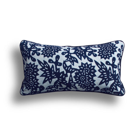 Indigo Flower Pillow, 10 x 17 in