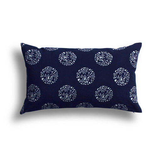 Indigo Dot Dot Dot Pillow, 12 x 20 in