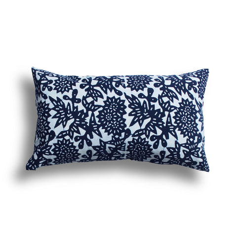 Indigo Flower Pillow, 12 x 20 in