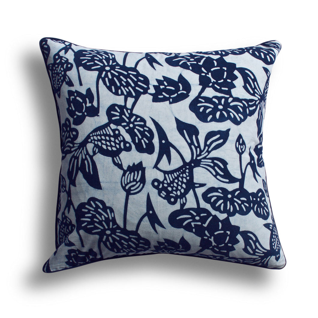 Indigo Fish Bowl Pillow, 18 x 18 in