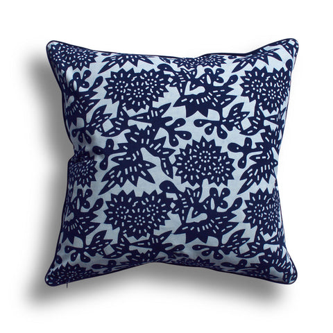 Indigo Flower Pillow, 18 x 18 in