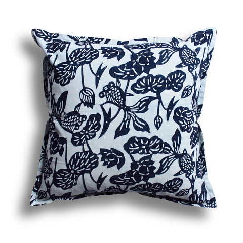 Indigo Fish Bowl Pillow, 22 x 22 in