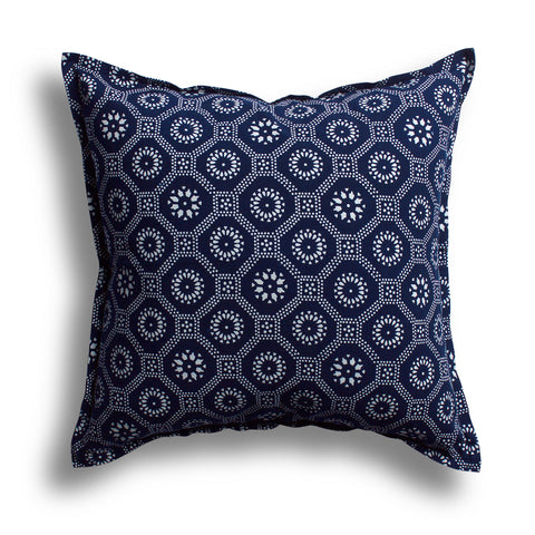 Indigo Honeycomb Pillow, 22 x 22 in