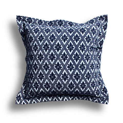 Indigo On the Fence Wide Flange Pillow, 24 x 24 in