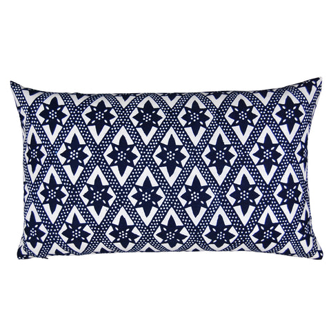 Indigo On the Fence Pillow, 12 x 20 in